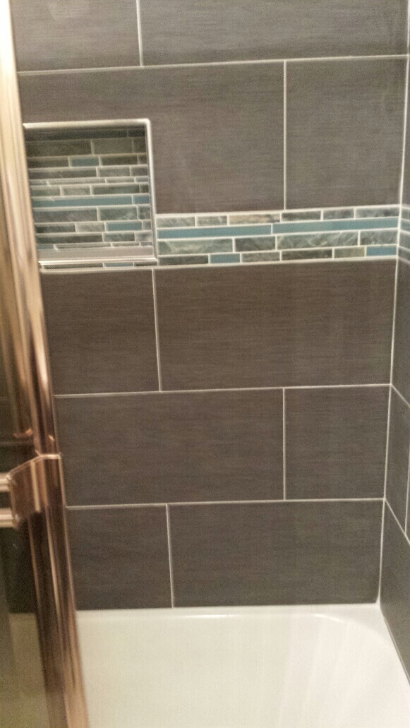 Shower with Brown Tile